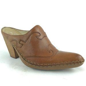 FRYE Phoenix Leather Mules Brown Slip On Cowboy 7
